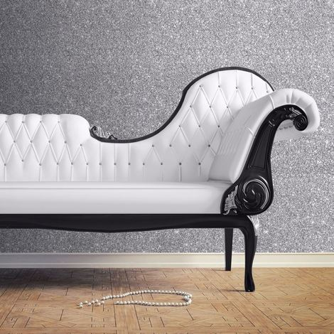 Muriva Couture Sparkle Silver Wallpaper Glitter Effect Shiny Shimmer Vinyl Heavy