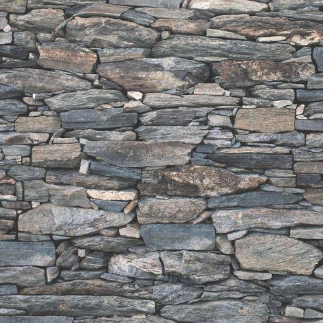 Brick Effect Wallpaper Slate Stone Rustic Weathered Realistic 3D Charcoal Debona