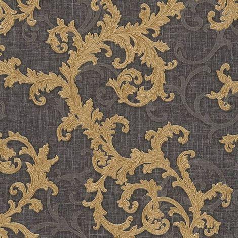 Versace Wallpaper Damask Vinyl Swirl Floral Trail Grey Gold Textured Embossed