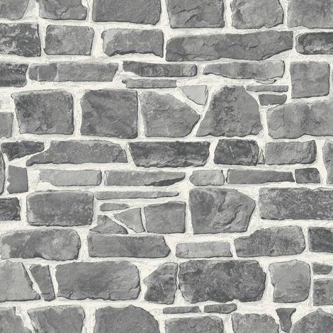 Grey White Brick Wallpaper Realistic Slate Stone Rustic Vinyl Textured Rasch
