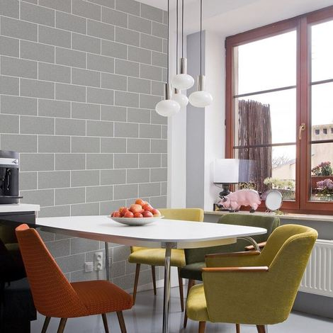 Brick Effect Wallpaper Kitchen Bathroom Vinyl Glitter Textured Grey White