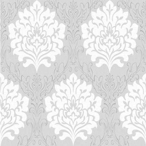 Damask Wallpaper Marrakesh Textured Metallic Grey White Embossed