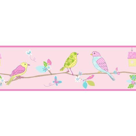 Birds Wallpaper Border Flowers Floral Pink Multi Coloured Fine Decor