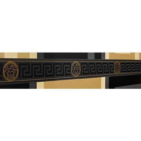 Versace Wallpaper Border Black Gold Luxury Satin Modern Designer Greek Key