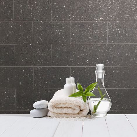 Brick Effect Wallpaper Kitchen Bathroom Vinyl Glitter Textured Black Grey
