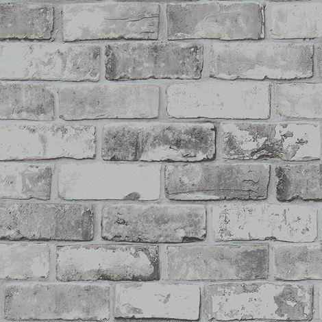 Brick Effect Wallpaper Slate 3D Weathered Stone Realistic Paste The Paper Debona