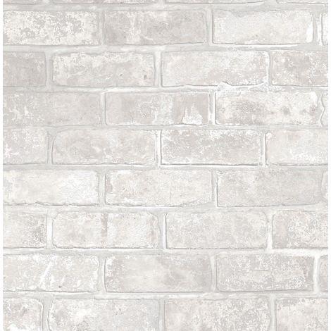 Brick Effect Wallpaper Slate Stone Rustic Metallic Silver Grey White Fine Decor