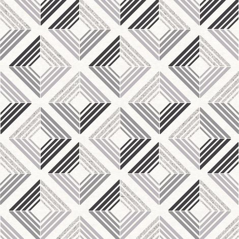 3D Effect Diamond Geometric Glitter Wallpaper Retro Squares Charcoal Coloroll