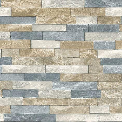Brick Effect Wallpaper Stone Slate Weathered Rustic Realistic Grey Brown Beige