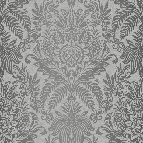 Damask Wallpaper Luxury Silver Grey Metallic Shiny Floral Leaf Crown