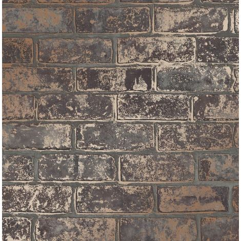 Brick Effect Wallpaper Luxury Heavyweight Slate Stone Brown Metallic Rose Gold