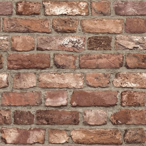 3D Effect House Brick Wallpaper Slate Stone Textured Vinyl Paste Wall Red Grey
