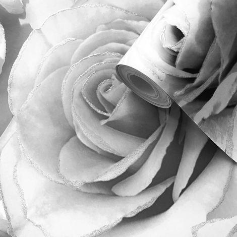 Madison Glitter Wallpaper Sparkle Flower Floral Rose Petals Blown Vinyl Muriva