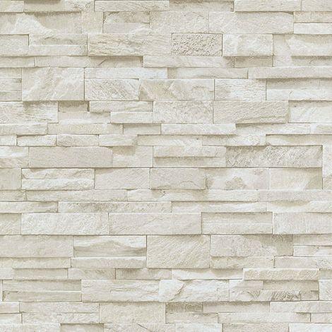 3D Effect Brick Wallpaper Beige Stone Tile Rustic Vinyl Paste Wall Erismann