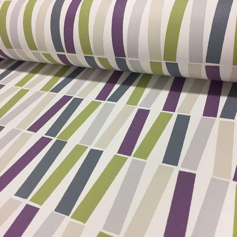 Purple Green Lines Wallpaper Funky Pattern PS Lined Retro Luxury Feature Wall
