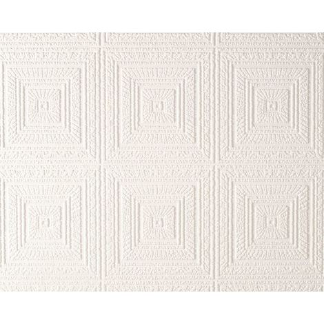 Paintable Wallpaper Big Squares Expanded Textured Vinyl White Luxury AS Creation