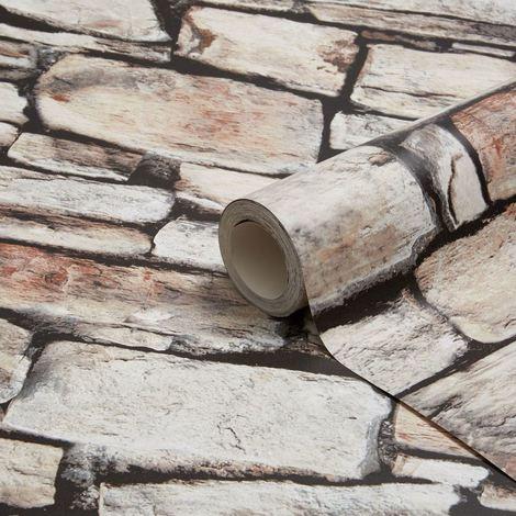 3D Effect Cornish Stone Brown Wallpaper Brick Slate Realistic Industrial Arthouse