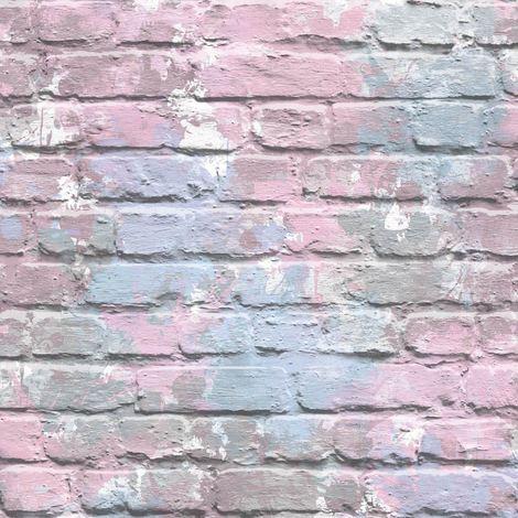 3D Brick Effect Wallpaper Lilac Pink Blue Paint Splash Slates Stones Rustic Painted