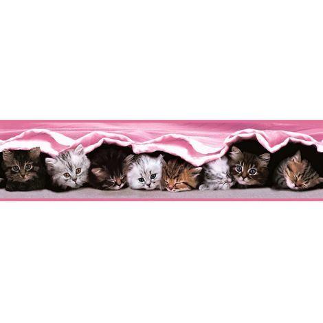 Girls Childrens Pink Kitten Cat Wallpaper Border Cute Nursery Baby Holden Decor