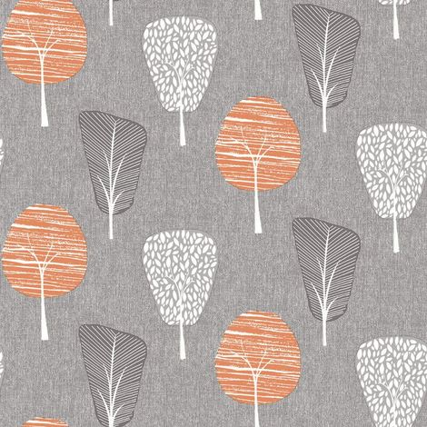 Retro Tree Grey Orange Wallpaper Forest Floral Botanical Woodland Arthouse