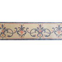 Vintage Retro Ornament Scroll Medallion Wallpaper Border Blue Beige Textured