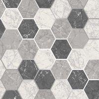 Hexagon Geometric Marble Wallpaper Kitchen Charcoal White Silver Metallic Vinyl