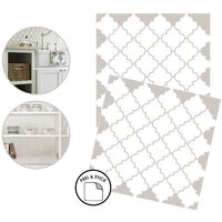 Quatrefoil Backsplash Tiles Peel & Stick 4pcs White Moroccan Wall Stickers