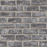 Exposure Brick Effect Grandeco Wallpaper Dark Grey Stone Paste The Wall Vinyl