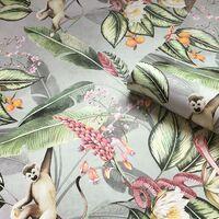 Animal Garden Wallpaper Belgravia Decor Tropical Jungle Animal Green Grey Pink