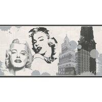 Marilyn Monroe Style Rasch Wallpaper Border White Black Silver New York