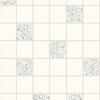 Holden Decor Granite White Silver Glitter Effect Tile on a Roll Wallpaper