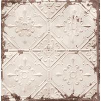 Tin Tile Wallpaper Urban Prints Metallic Metal Modern Beige Copper Fine Decor