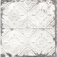 Tin Tile Wallpaper Urban Prints Metallic Metal Modern White Silver Fine Decor
