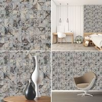 Square Triangle Mosaic Tile Effect Wallpaper Grey Brown Rustic Worn Distressed