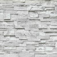 3D Effect Brick Wallpaper Grey White Stone Tile Rustic Vinyl Paste Wall Erismann
