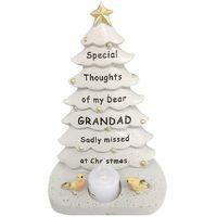Grandad Christmas Tree With Flickering Tea Light Ornament Memorial Tribute