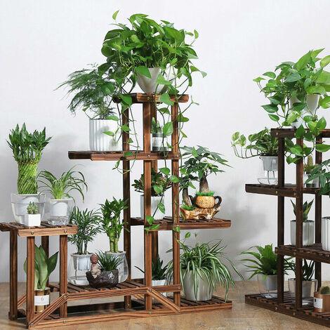 Strong 5 Tier Wooden Plant Stand Garden Flowerpot Shelf Sturdy Display Decor