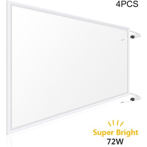 4 Pack 1200 x 600mm 72 Watt LED Ceiling Panel Light High Power 6500k Cool White