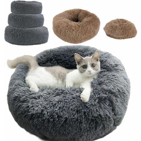 Cuddler Pet Bed Luxury Shag Warm Fluffy Dog Bed Nest Cat Mattress Fur Donut Pad - Beige 70cm