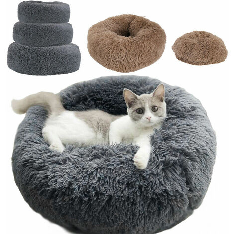 Cuddler Pet Bed Luxury Shag Warm Fluffy Dog Bed Nest Cat Mattress Fur Donut Pad - Grey 60cm