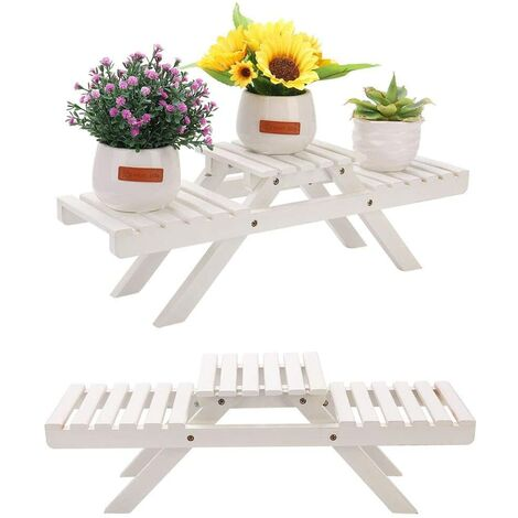 Table Top Bamboo Plant Stand 3 Tiered Potted Flowers Shelf Rack White