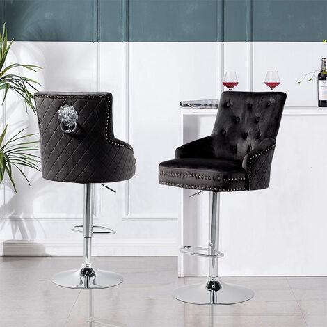 Crushed Velvet Upholstered Breakfast Bar Stool Chrome Lion Knocker &Button - Black