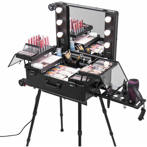 Large Cosmetics Make Up Beauty Trolley Artist Pro Rolling Case w/Lights Mirror
