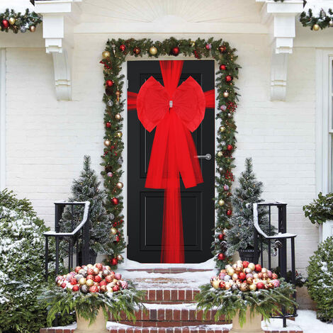 Extra Large Double Deluxe Door Bow Full Wrap Elegant Christmas Traditional Bow,Red