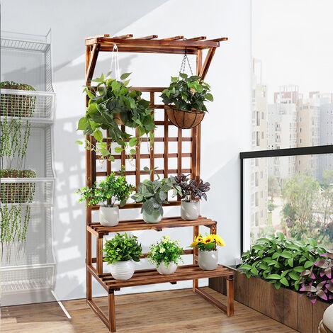 2-Tier Plant Stand Flower Pot Holder Display Rack w Trellis Fence Indoor Outdoor