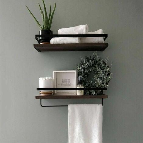 2 Large Rustic Floating Wall Shelf Bathroom Utility Decorative Rack with Towel Rod