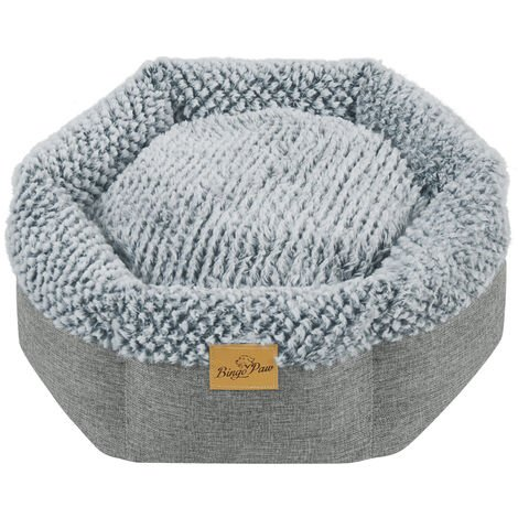 Round Soft Cuddler Pet Dog Bed Joint-Relief Sleeping Support Bolsters Cushion, Small Grey