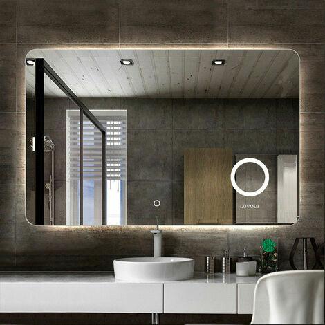 Large Backlit LED Illuminated Modern Bathroom Mirror w/ Demister Round Magnifier