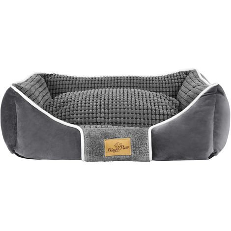 Deluxe Dog Bed Pet Snuggle Basket Cuddler Cushion with Removable Pillow Soft,Grey 56x46x20cm