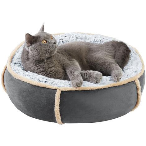 Round Nesting Pet Bed Safe Cozy Plush Cord Jumbo Dog Cuddler Sofa Kennel Cushion Grey 20 inch